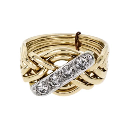 Vintage Diamond 6 Row Puzzle Ring 14k Gold Size 6.75