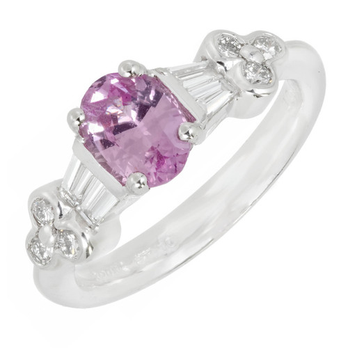 Rare Purplish Pink Oval Sapphire Diamond Engagement Ring Spark