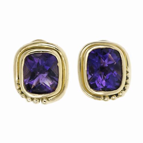Estate Bright Purple Cushion Cut Amethyst Earrings 18k Gold