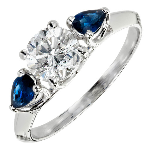 Peter Suchy 1.03ct Round Diamond Pear Sapphire Engagement Ring