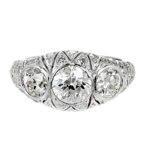 Vintage Art Deco 1920 Old European Cut Diamond Engagement Ring Platinum