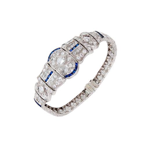 Vintage Art Deco Platinum & 18k Gold Diamond & Sapphire Bracelet