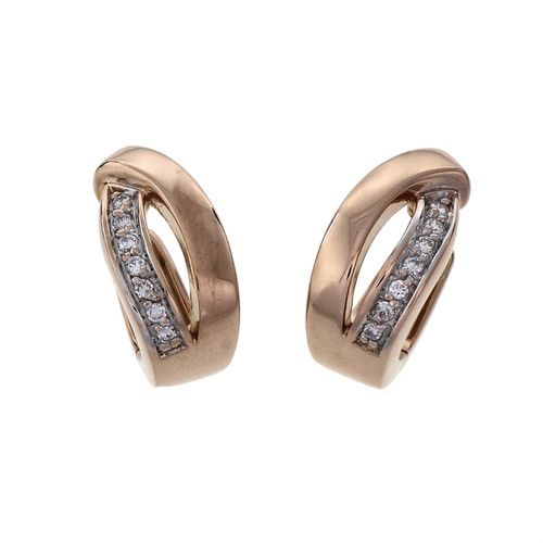 Estate Diamond Huggie Hoop Earrings 14k Pink Gold