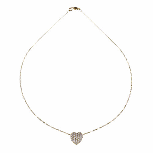 Pavé Set Diamond Heart Pendant Slide 14k Gold Necklace