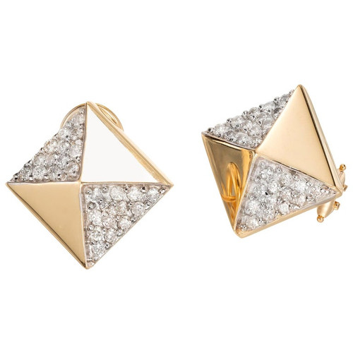 .65 Carat Pave Diamond Yellow Gold Pyramid Earrings
