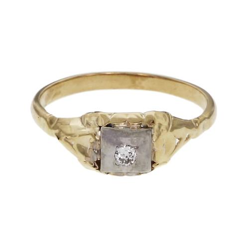 Vintage 1940 Diamond Engagement Ring 14k Rose & White Gold