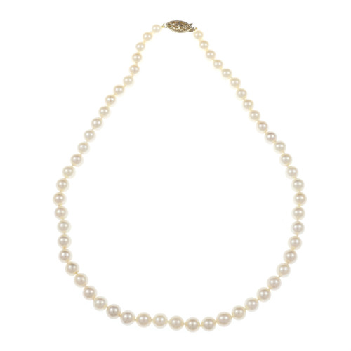 Vintage 1960 Light Cream Cultured Pearl 18 Inch Necklace 14k Yellow Gold