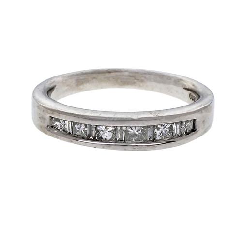 Channel Set Princess & Baguette Cut Diamond Wedding Band Ring Platinum