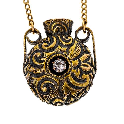 Antique Victorian Bottle Pendant .25ct Diamond 14k Yellow Gold
