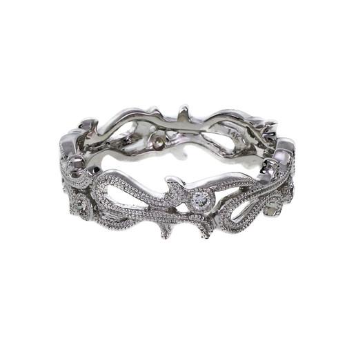 Vintage Style Diamond Wedding Band Ring Open Work Beaded 14k White Gold