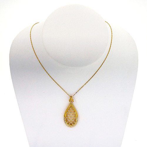 Estate Open Work 18k Yellow Gold .66ct Diamond Honeycomb Pendant