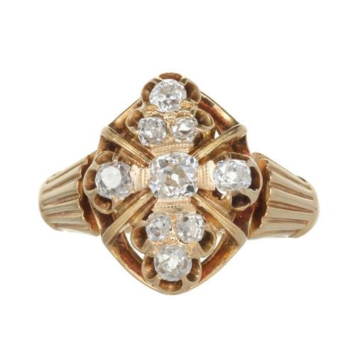 Vintage Victorian 1850 Old Mine Brilliant Cut Diamond Ring 14k Yellow Gold