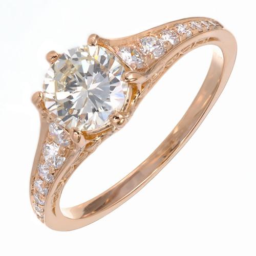 Peter Suchy Transitional Cut Diamond Filigree 18k Pink Gold Ring