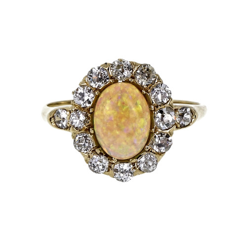 .57 Carat Gem Opal Diamond Yellow Gold Ring