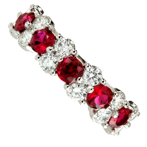 Peter Suchy 1.00 Carat Diamond Ruby Platinum Wedding Band Ring