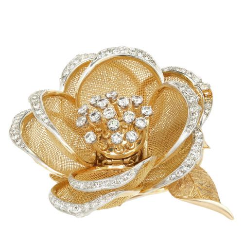 2.60 Carat Diamond Yellow Gold French En Tremblant Rose Flower Brooch