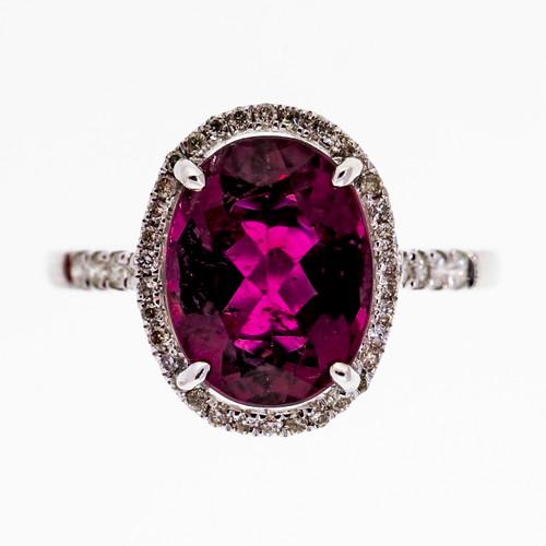 Estate Oval Bright Pink Tourmaline 2.57ct Diamond 14k White Gold Ring