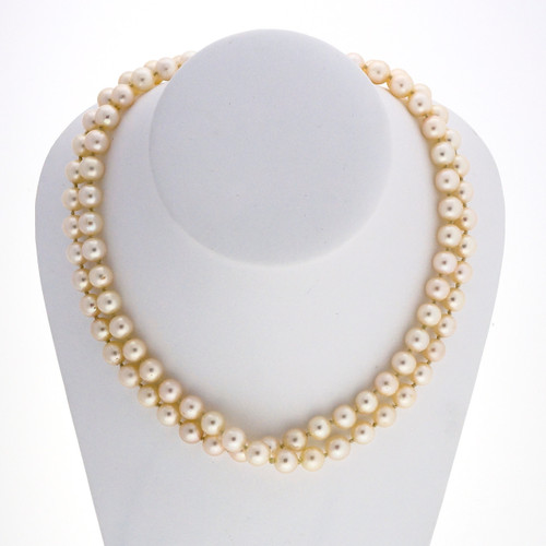 Vintage 33 Inch Long 8 To 8.5mm Endless Japanese Akoya Cultured Pearl Necklace