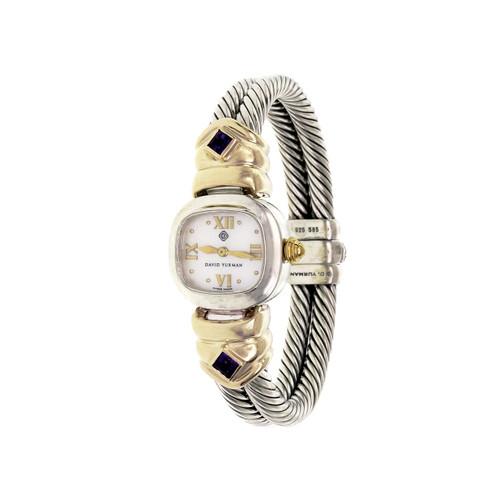 David Yurman 2 Row Cable Bangle Wrist Watch Silver 14k Gold Amethyst