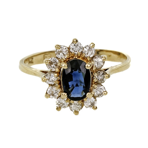 Estate Classic Oval Sapphire Cluster Ring 14k Yellow Gold Diamond