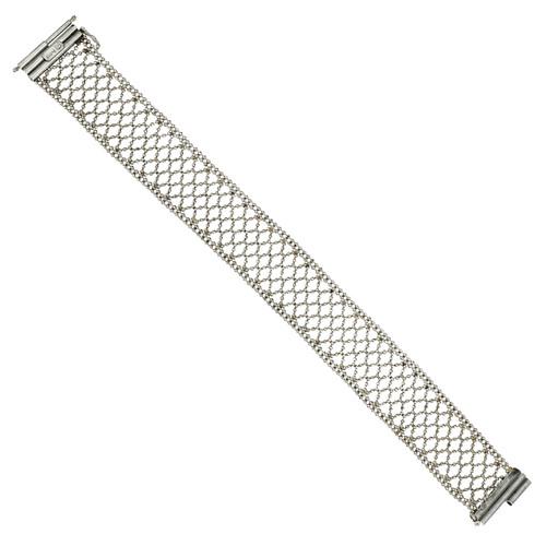 Platinum Mesh Bracelet Faceted Beads