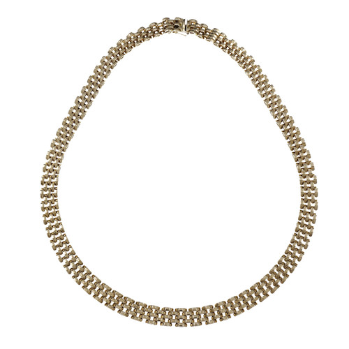 Italian 5 Row Faceted Panther Link Necklace 14k Yellow Gold