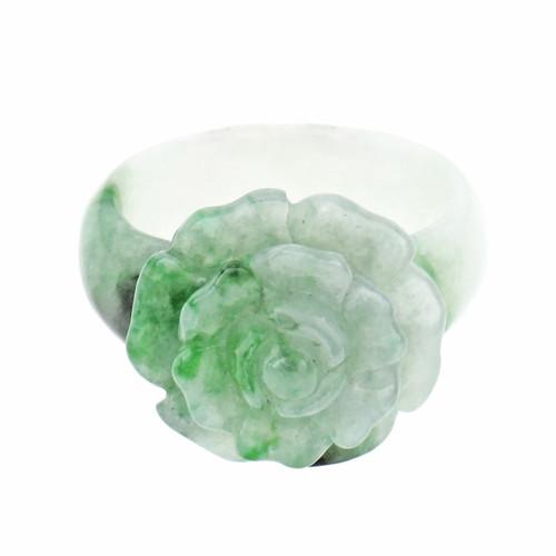 GIA Certified Jadeite Jade Flower Ring Blended Green White