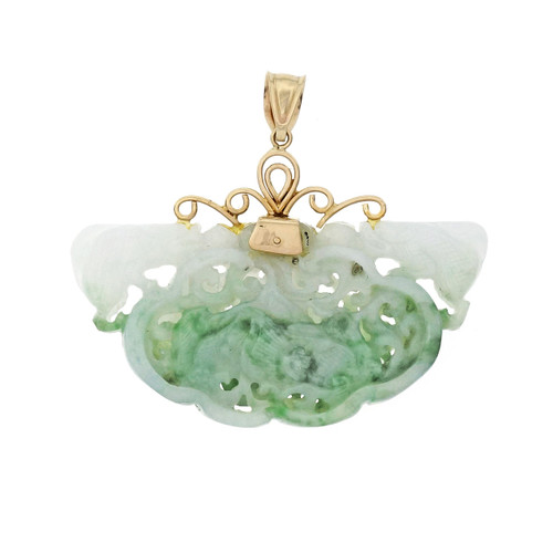 GIA Certified Natural Jadeite Jade Carved Yellow Gold Pendant