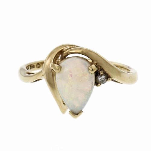 .2 Carat Diamond Opal  Yellow Gold Ring