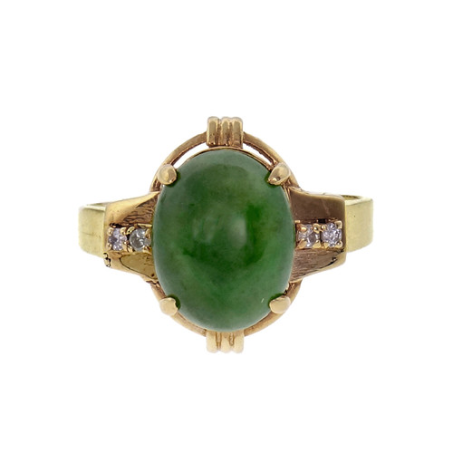 Natural Jadeite Jade Ring 14k Gold Diamond GIA Certified