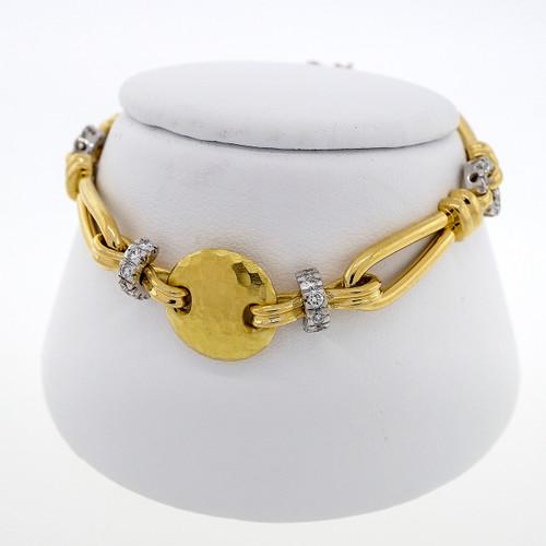 "Estate Designer ""F"" 18k Yellow Gold .82ct Diamond Bracelet"