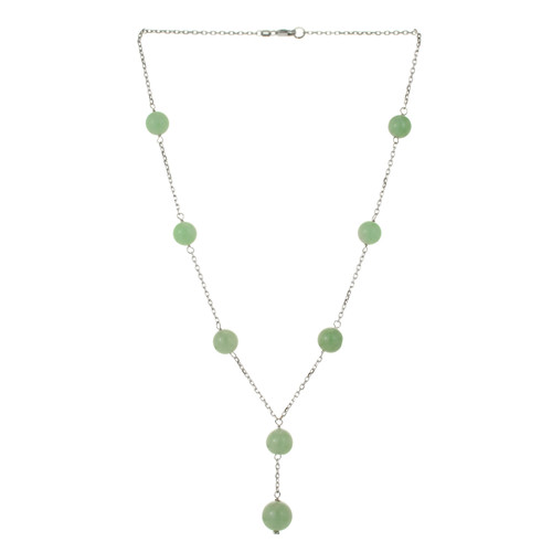 GIA Certified Natural Jadeite Jade White Gold Necklace