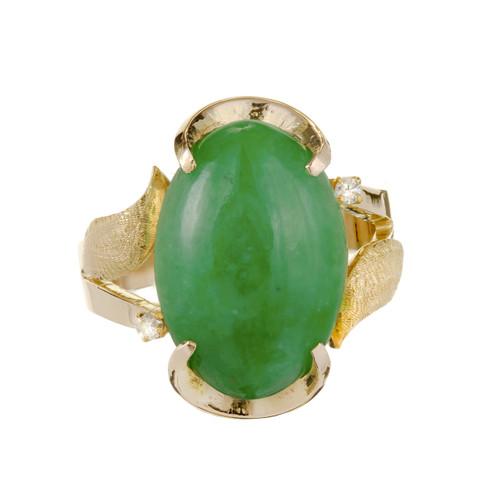 GIA Certified Green Jadeite Jade Diamond Yellow Gold Ring