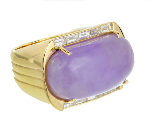 GIA Certified Lavender Purple Natural Jadeite Jade Diamond Yellow Gold Ring