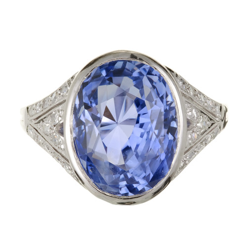 GIA Certified 10.78 Carat Periwinkle Blue Sapphire Diamond Platinum Ring