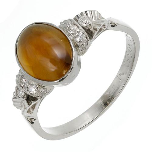 Rare Vintage 2.70ct Chrysoberyl Cat's Eye Ring Platinum 1920 Diamond GIA