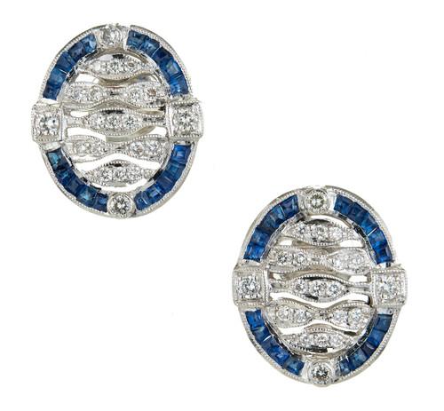 Vintage Art Deco Platinum Sapphire Diamond Open Work Earrings