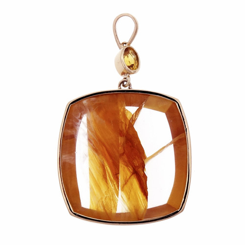 Peter Suchy Quartz Crystal Topaz Yellow Gold Pendant