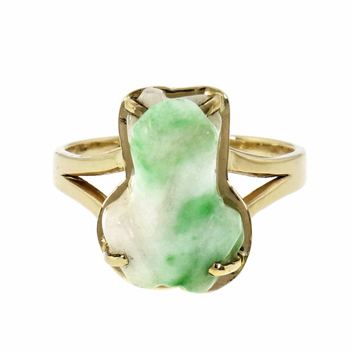 GIA Certified Jade Carved Frog Yellow Gold Ring