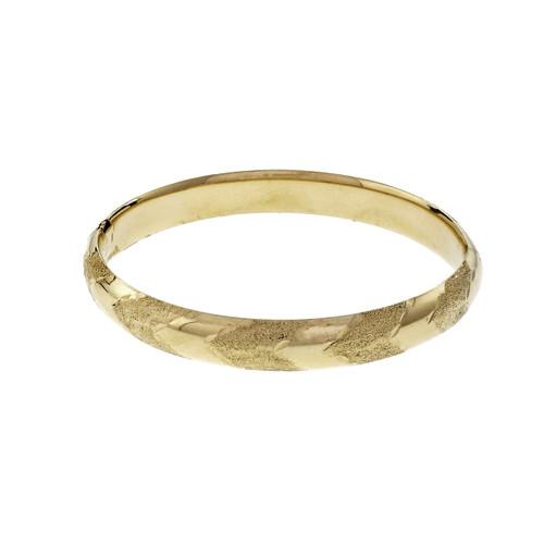 Yellow Gold Etched Pattern Hinged Bangle Bracelet