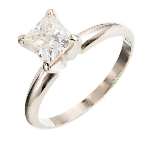 EGL Certified .94 Carat Diamond White Gold Engagement Ring