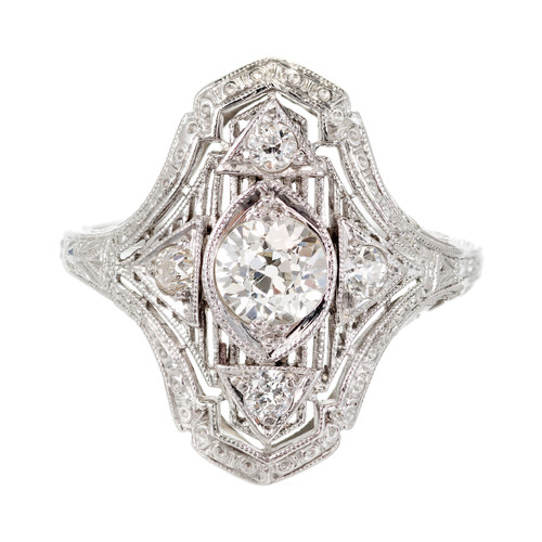 Edwardian .59 Carat Diamond Platinum Ring