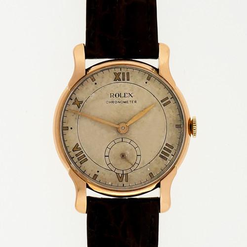 Rare 1930 Rolex 18k Pink Gold Chronometer Men's Wrist Watch