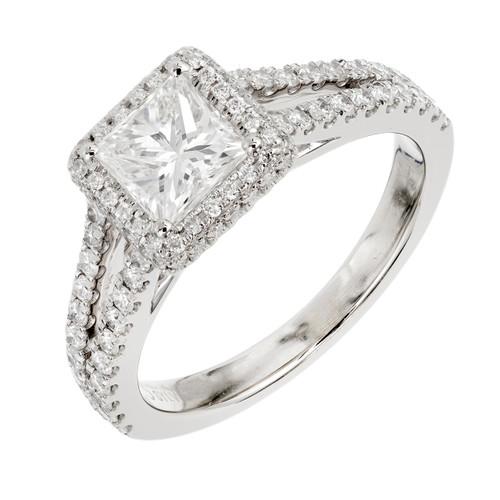 Peter Suchy .74 Carat  Diamond White Gold Halo Engagement Ring