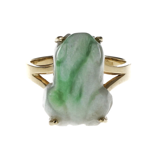 GIA Certified Mottled Green Natural Jade Yellow Gold Frog Ring