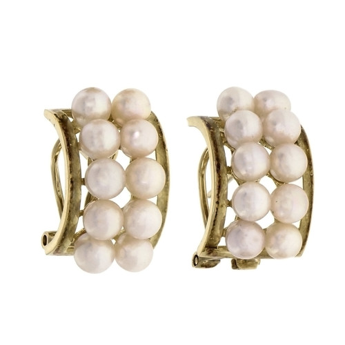 Estate 2 Row Cultured Pearl Yellow Gold Earrings