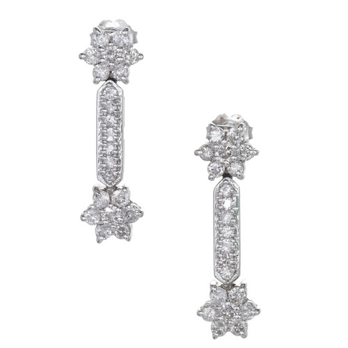 1.80 Carat Diamond White Gold Dangle Earrings