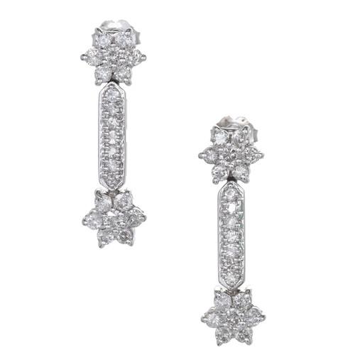 1.80 Carat Diamond White Gold Dangle Earrings