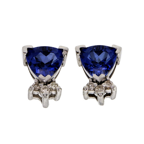 1.50 Carat Blue Tanzanite Diamond White Gold Earrings