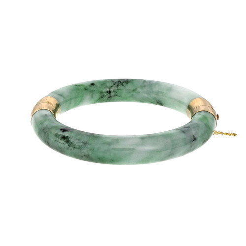 Jadeite Jade Yellow Gold Hinged Bangle Bracelet